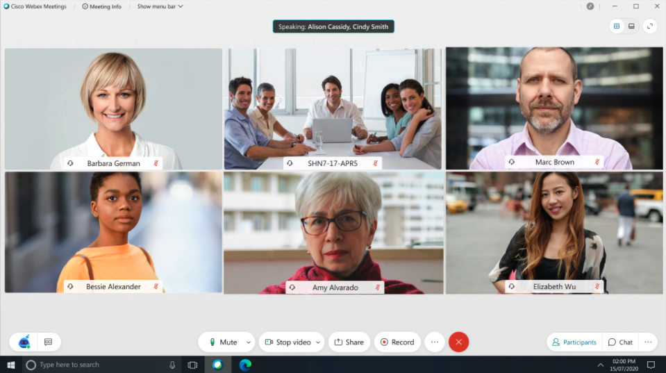 Webex Meetings desktop application with six meeting participants and in-meeting navigation buttons.