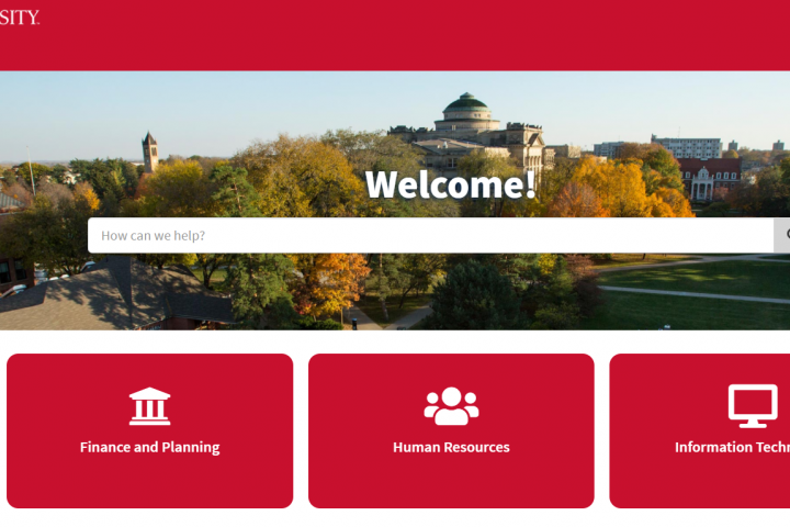 The home screen of the ISU Portal featuring the HR, Finance and IT Portal quick links.