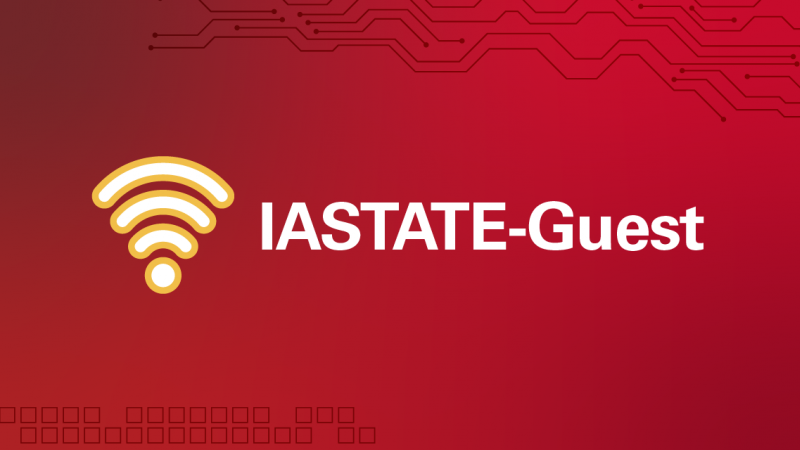 Wi-Fi symbol with text IASTATE Guest
