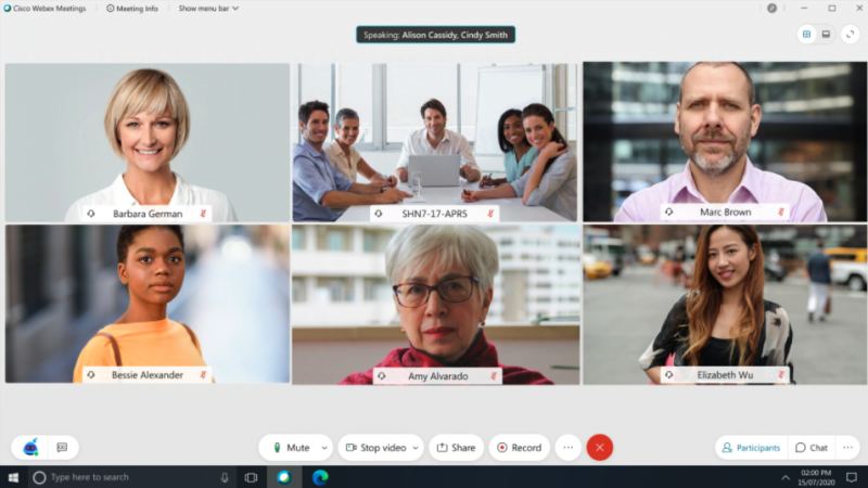 Webex meeting view with six meeting participants and new navigation buttons