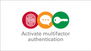 Graphic with a fingerprint, text bubble and key with the words Activate multifactor authentication